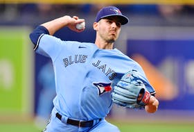 Blue Jays' Julian Merryweather delivers a pitch to the Tampa Bay Rays in the first inning at Tropicana Field on Wednesday, Sept. 22, 2021.