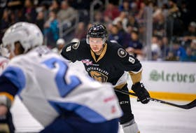 Marcus Power, shown with the Newfoundland Growlers in this 2019 file photo, is one of 18 players signed to AHL contracts with the Toronto Marlies. With so many players to be assigned to the Marlies from Toronto's main camp, many of those AHL-contracted players will end up in the ECHL with the Growlers to start a new season. — Newfoundland Growlers file photo/Jeff Parsons