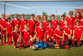 The Riverview Red under-13 boys' soccer team captured the Cape Breton Cup championship at Cape Breton Health Recreation Complex Turf in Sydney last month. The club defeated the New Waterford Wolves 4-2 in the championship game. Front row, from left, Jason Small, Luke MacDonald, Alex Arsenault, Kyle Moore, Nick Lawrence, Elliot Todd, Cael Rooney, and Anthony Depodesta. Back row, from left, Alison Rowter (assistant coach), Jacob Rowter-MacNeil, Jack Tobin, Camden MacNeil, Micah Barrett, Lachlan Stewart, Luke MacDougall, Evan MacNeil, Chase Doyle, Troy Small, Caleb Jones, Mary MacDonnell-Moore (head coach), and Samantha Lawrence (assistant coach). PHOTO CONTRIBUTED/MARY ROSE MACDONALD.