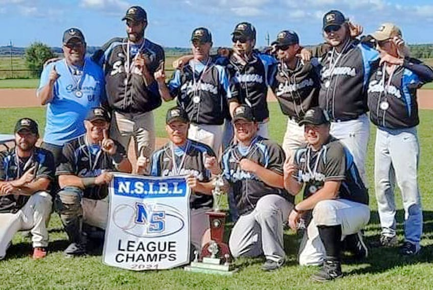The Sherose Island Schooners  are the 2021 Nova Scotia Intermediate Baseball League  champions. Front row, left to right: Jeff Ross, Doug Brannen, Ty Ross, Steve MacIntosh, Trit Reede. Back row: Coach Bobby Blades, Keith Nickerson, Stefan Newell, Dylan Spinney, Justyn Newell, Jarrett Ross and Jordan Belliveau. Contributed