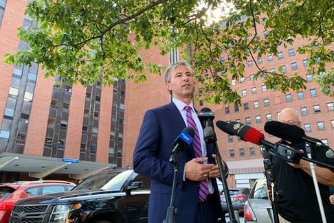 Nova Scotia Premier Tim Houston spoke the media in front of the Centennial Building at the Victoria General site Thursday afternoon. The premier is currently on a 'Speak Up for Health Care' tour as he talks with health care providers across the province.