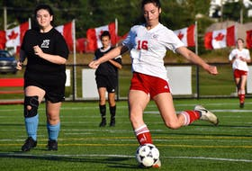 Allie MacLeod of the Riverview Ravens, right, prepares to take a clear-cut shot inside the box during Cape Breton High School Soccer League action at Open Hearth Park Turf in Sydney, Wednesday. MacLeod was stopped on the play by Glace Bay Panthers goalkeeper Olivia MacDonald. Riverview won the game 8-2. JEREMY FRASER/CAPE BRETON POST.