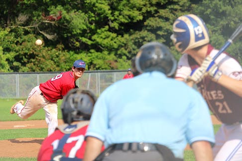 Jake MacKinnon throws a pitch in the seventh inning of Game 1 with the Saint Mary's Huskies on Sept. 18 in Kentville.
