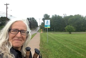 Christine Renaud, from southern Ontario's Prince Edward County, is walking Prince Edward Island's 700 km Island Walk to raise $7,000 for the Lennon Recovery House in North Rustico.