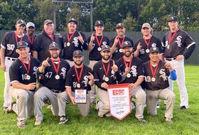 The Alexandra Street White Sox captured the Eastern Canadian men's intermediate championship last week in Fredericton, N.B. The Sydney-based team captured the championship with a 7-3 win over East Hants. Members of the team are shown with the championship banner. Front row, from left, Patrick Stewart, Jay Duffy, Coby Crowell, Ryan Keough, Chris Keough, and Levi Denny. Back row, from left, Joe Lahey, Dana Estwick, Scott Black (coach), Justin Schofield, Brody Fraser, Richie Mills, Jordan Moss, and Derek Rudderham. PHOTO CONTRIBUTED/CHRIS KEOUGH.