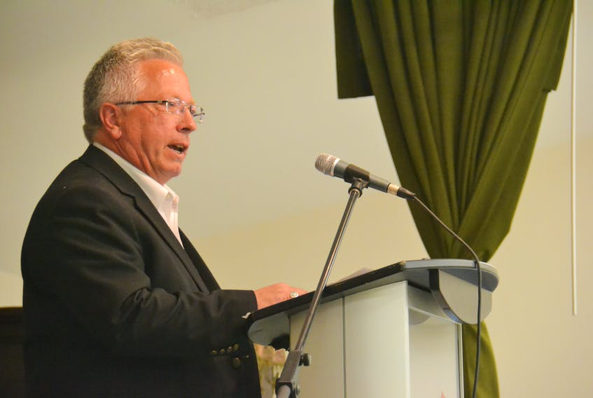 Liberal party president Don Leary speaks at a party AGM in May. Leary said the Liberal leadership convention will be postponed due in part to the prospect of a byelection in Cornwall-Meadowbank. The convention had been scheduled for November.