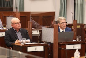 """P.E.I. Potato Board chair Wayne Townsend, left, and general manager Greg Donald said they believe the province should put in place a plan for each watershed on the Island, including a """"water budget"""" limiting withdrawel at sustainable levels."""