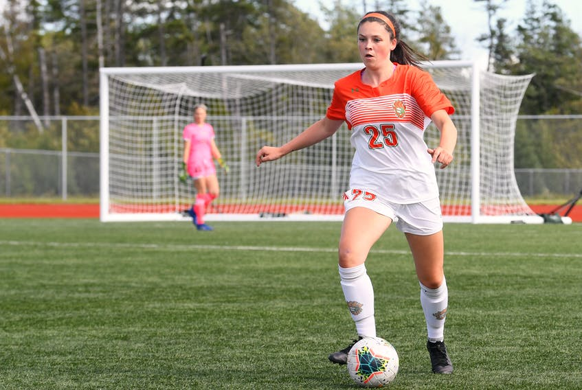 Janelle Tierney is currently in her first season in the Atlantic University Sport with the Cape Breton Capers. The Sydney River product has appeared in all three regular season games to date and is prepared for her role with the team. PHOTO/VAUGHAN MERCHANT, CBU ATHLETICS.