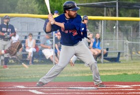 In this file photo, Mike Tobin of the Sydney Sooners is shown at the plate during Nova Scotia Senior Baseball League action at the Susan McEachern Memorial Ball Park in Sydney. Tobin and the Sooners will look to get back in the league championship series on Saturday when they host Dartmouth in Games 3 and 4 in Sydney. JEREMY FRASER/CAPE BRETON POST