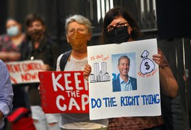 FOR CAMPBELL STORY: Demonstrators taking part in a rent cap rally put on by the advocacy group, ACORN,  are seen during their day-long rally to maintain the cap on rental increases, in front of Province House in Halifax Thursday September 23, 2021.  TIM KROCHAK PHOTO