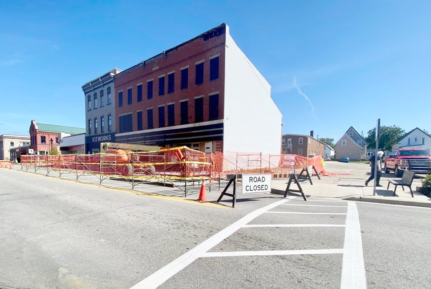The property at 305-309 Main Street in Yarmouth – the red brick building pictured here – is being town down over ongoing safety concerns. TINA COMEAU PHOTO