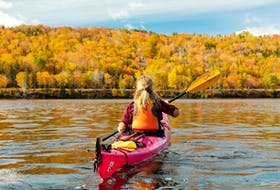 There are several great spots to do some fall kayaking and enjoy the foliage from the water around Atlantic Canada, including the North River in Cape Breton. - Destination Cape Breton