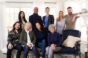 The cast of CTV's Jann. Back row, from left: Alexa Rose Steele, Tenaj Williams, Elena Juacto, Zoie Palmer, Patrick Gilmore. Front, from left: Charlie Kerr, Jann Arden, Sharon Taylor and Deborah Grover. Courtesy, CTV.