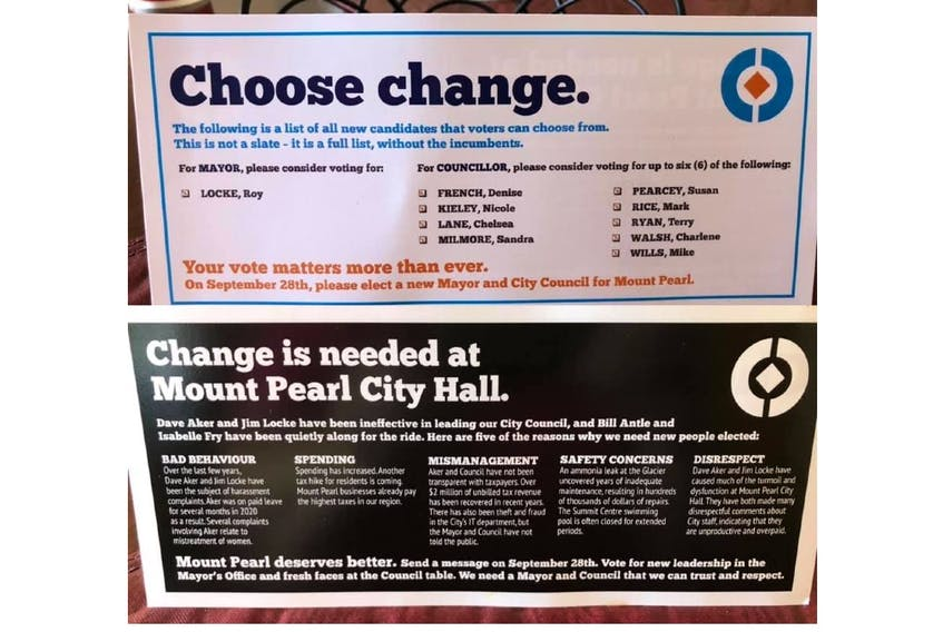 This flyer with the city of Mount Pearl branding was distributed to homes in the city this week. It contains allegations against current members of council and the city said they had nothing to do with it.