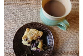 Enjoy a break with a cup of coffee and a piece of Blueberry Coffee Cake.