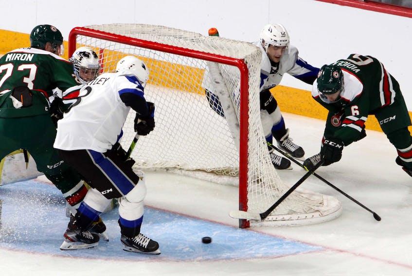 Halifax Mooseheads' Markus Vidicek tries the wrap-around on Saint John Sea Dogs' goaltender Jonathan Lemieux early on in the second period.