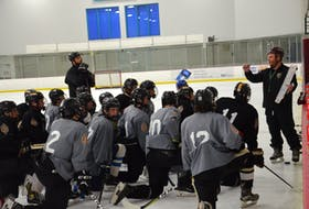 Charlottetown Bulk Carriers Knights head coach Luke Beck explains a drill during a practice at MacLauchlan Arena earlier this week. The Knights open the 2021-22 New Brunswick/Prince Edward Island Major Under-18 Hockey League regular season at MacLauchlan Arena against the Moncton Flyers on Sept. 25 at 4 p.m.