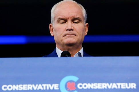 Conservative party leader Erin O'Toole at a press conference in Ottawa, Ontario, Canada the day after the election, Sept. 21, 2021. REUTERS/Patrick Doyle
