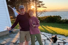 Dr. Andrew Ross and his wife, Susan, who's battling lymphoma, at a friend's place in Mahone Bay in the summer of 2021.