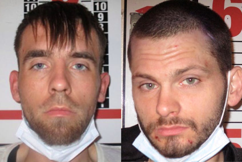 Chad Stephen Clarke, 28, left, and Thomas Joseph Smith, 31, are wanted by police after escaping from the Central Nova Scotia Correctional Facility in Dartmouth on the evening of Thursday, Sept. 23.