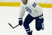 Toronto Maple Leafs Nick Ritchie skates at training camp in Toronto on Thursday, September 23, 2021. Jack Boland/Toronto Sun