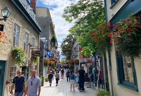The vaccine passport system is in effect in Quebec, but it has not hampered the thriving tourist trade in areas like Rue du Petit Champlain in Old Quebec City. — Pam Frampton/SaltWire Network