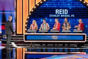 Members of the Reid family from Stanley Bridge, P.E.I., recently taped a segment on Family Feud Canada with host Gerry Dee, pictured in the foreground. The Reid team is, from left, Joanne Reid, the team captain; her boyfriend, Cory; her sister, Jennifer; her brother-in-law, Aron; and her father, Wilbert.