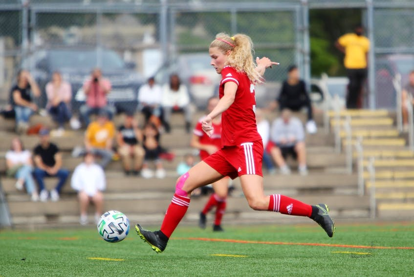 Christina Woloszczuk is part of a minority on the Memorial Sea-Hawks women's soccer team. The senior fullback is one of just five players from outside Newfoundland and Labrador on the Sea-Hawks' two-player roster. — SMU Athletics/Nick Pearce