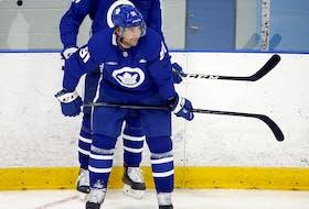 Toronto Maple Leafs captain John Tavares takes a breather at training camp in Toronto on Thursday September 23, 2021.