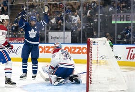 Toronto Maple Leafs centre John Tavares celebrates scoring a goal against the Montreal Canadiens on Saturday.