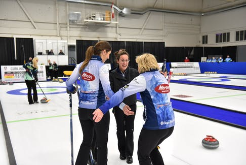 Jill Brothers, centre, and teammates Erin Carmody, Jenn Mitchell and Kim Kelly  celebrate after beating Jessie Hunkin at the Canadian curling pre-trials direct entry event in Ottawa. The Brothers rink earned a berth in Home Hardware curling pre-trials event in Liverpool in October. - Claudette Bockstael / Curling Canada