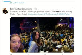 Sept. 26, 2021 - Young people gather on Larch Street in Halifax in this screen shot from social media.
