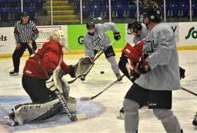 Bearcats' captain Holden Kodak converts a well-executed pass from defenceman Dell Welton to start Truro on their way to a 5-3 preseason victory over the Crushers, Sept. 21 in Pictou County. Welton, a third-year player from Baddeck, was named the game's first star.