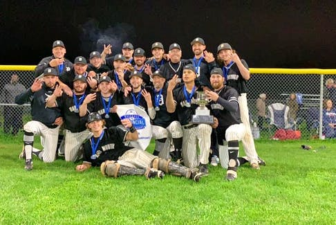 The Dartmouth Moosehead Dry celebrate after beating the Sydney Sooners to capture their 22nd Nova Scotia Senior Baseball League championship on Saturday in Sydney. - Contributed