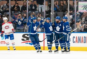 Maple Leafs defenceman Jake Muzzin (8) celebrates scoring a goal in pre-season action against the Montreal Canadiens on Saturday night at Scotiabank Arena. Fans were back in the stands for the first time since March 10, 2020 in a win over Tampa Bay.