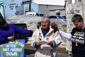 Ken Mesher, 85, passed away on Sept. 22. Mesher was a respected elder who lived in Happy Valley-Goose Bay for many years. Here he is shown leading the prayer at a 2018 rally opposing the Muskrat Falls project.