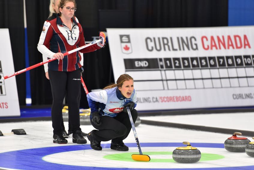 Erin Carmody calls a shot for skip Jill Brothers during play in the Canadian Curling Pre-Trials Direct-Entry Event in Ottawa over the weekend. Carmody, who grew up in Summerside and now lives in Halifax, plays third stone for Team Brothers. Curling Canada/Claudette Bockstael