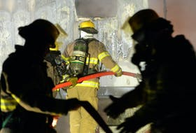 A mobile office trailer was destroyed by fire in St. John's early Monday morning.