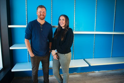 Tyler and Hannah Sears at their new pottery and painting cafe called DIY Studio in the Westphal Plaza on Monday. The shop is under construction and the owners are planning to open on Oct. 9. Ryan Taplin - The Chronicle Herald