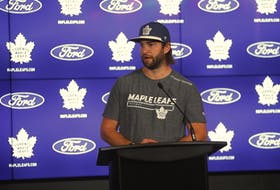 Maple Leafs goalie Jack Campbell speaks to the media at the beginning of training camp.