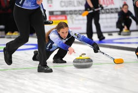 Erin Carmody releases a shot in the Canadian Curling Pre-Trials Direct-Entry Event in Ottawa recently. Carmody plays third stone for the Jill Brothers-skipped rink. Team Brothers won five straight games to clinch a berth in the Home Hardware Curling Pre-Trials event in Liverpool, N.S., from Oct. 26 to 31. Curling Canada/Claudette Bockstael