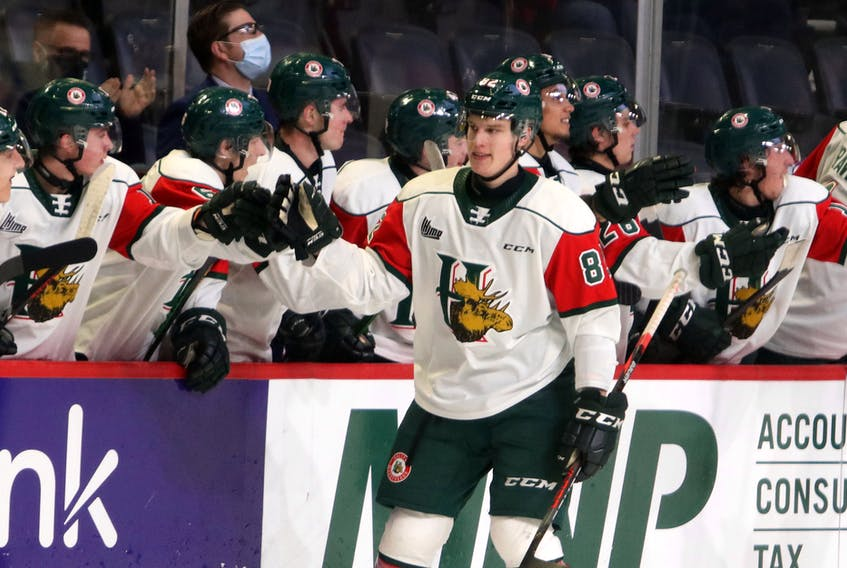 Halifax Mooseheads forward Senna Peeters high fives his team's bench after scoring a goal against the Cape Breton Eagles during a March 11 game at the Scotiabank Centre. - Eric Wynne