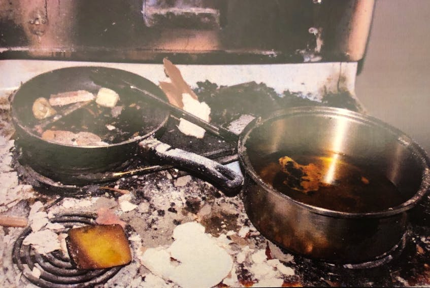 Royal Newfoundland Constabulary investigators took this photo inside a basement apartment on Maccarthy Place in Mount Pearl after it was damaged by fire in november 2019. The fire is alleged to have been deliberately set on the stove. Breonnah Perchard, 24, has pleaded not guilty to arson in connection with the blaze and is on trial in St. John's this week.