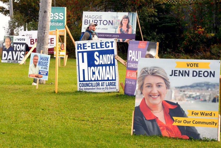 A field of municipal election signs sit at the corner of Torbay Road and MacDonald Drive in St. John's a day ahead of Newfoundland and Labrador's province-wide elections on Sept. 28, 2021. - Keith Gosse/The Telegram