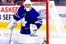Ian Scott's pro career has been hampered by injuries and that pattern continues this fall. Scott was hurt playing for Toronto in an NHL exhibition game on the weekend, and to hear Maple Leafs' coach Sheldon Keefe, it appears the young netminder could be out for a while. — File photo/Maple Leafs/NHL.com