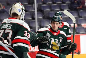 Centre Elliot Desnoyers, right, and goalie Brady James will be key players for the Halifax Mooseheads this season. - Eric Wynne