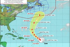 Current track of Hurricane Sam courtesy of Environment Canada, Canadian Hurricane Centre.