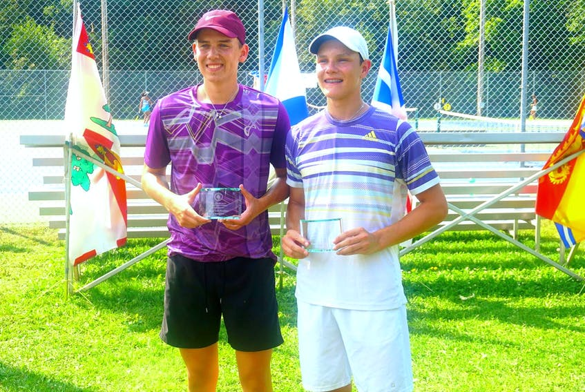 Aiden (left) and Liam Drover-Mattinen have been dominant in recent Atlantic tennis championships, winning multiple titles annually, including as a doubles team. — Facebook/Tennis PEI