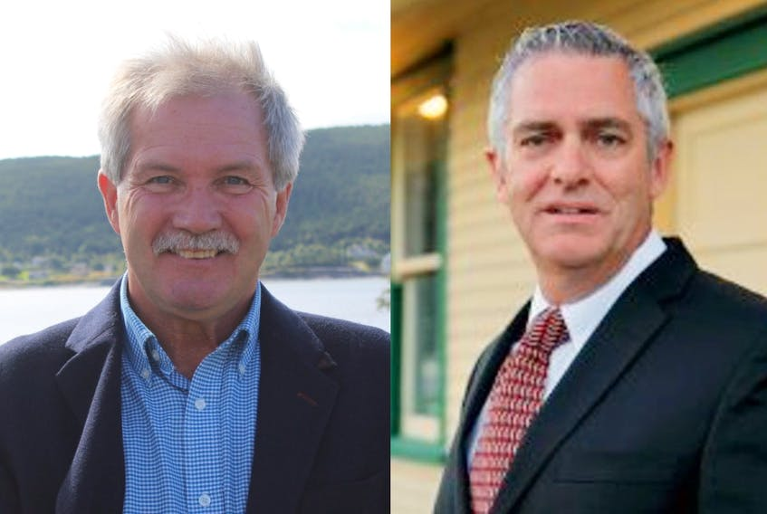 Harbour Grace Mayor Don Coombs (left) and Frank Butt, mayor of Carbonear, were re-elected in the Tuesday, Sept. 28, 2021, Newfoundland and Labrador municipal elections.
