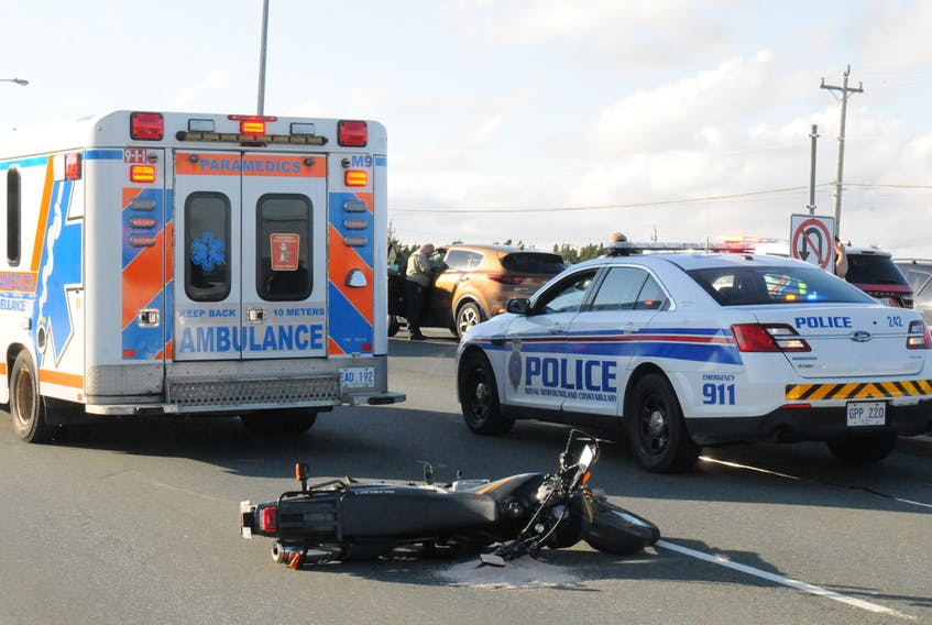Paramedics transported the driver of this motorcycle following a crash late Wednesday afternoon in St. John's.